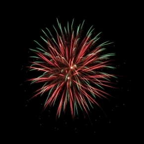 A picture of a firework just as it explodes into multiple colours in the night sky.