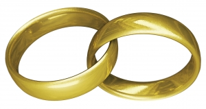 the picture shows two intertwined gold wedding bands